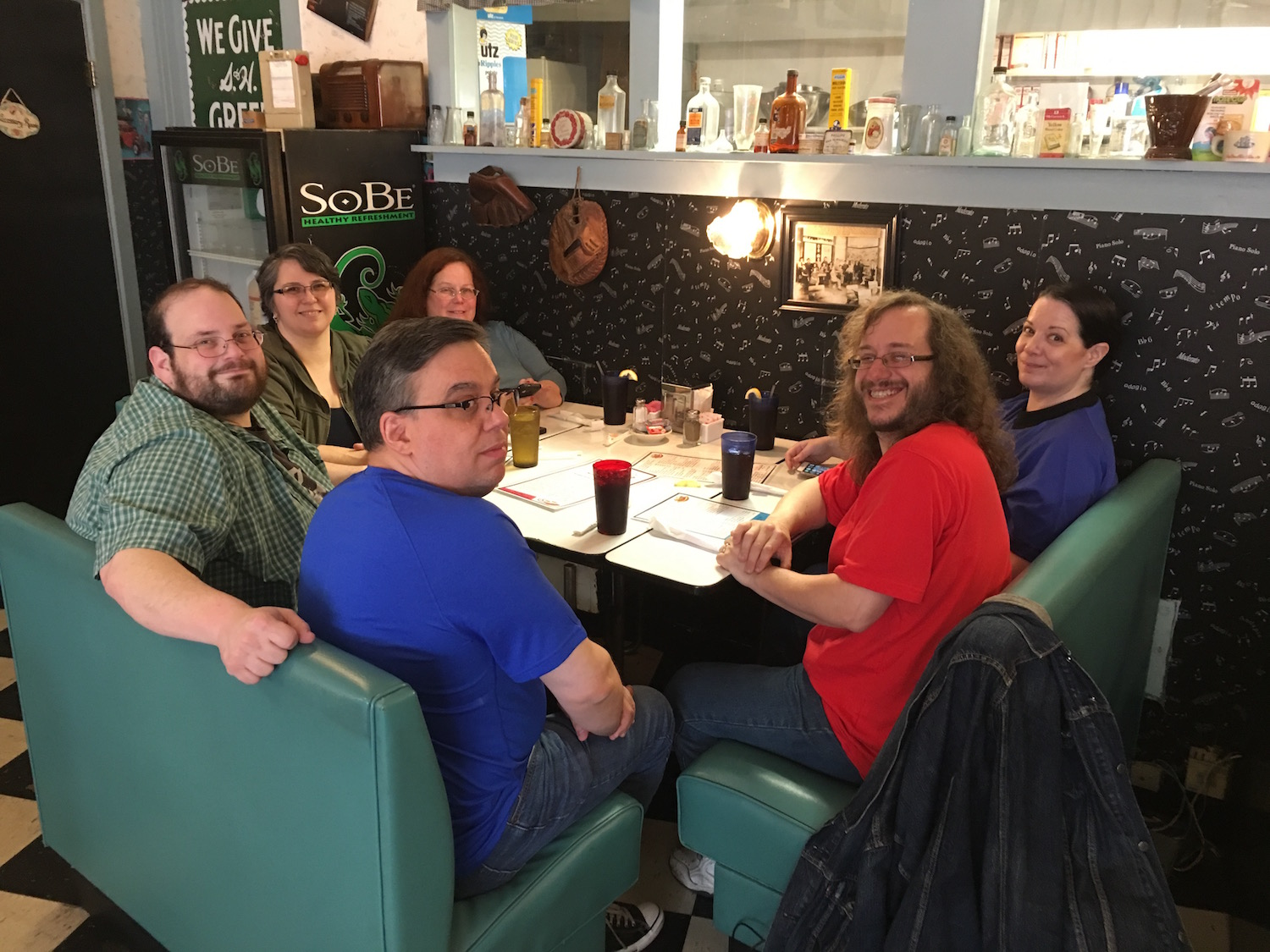 Clockwise From Front: Bill Leisner, Dave Galanter, Simantha Galanter, Wrenn Simms, Lisa Sullivan, and Keith R. A. DeCandido ©2017 Karen Ragan-George