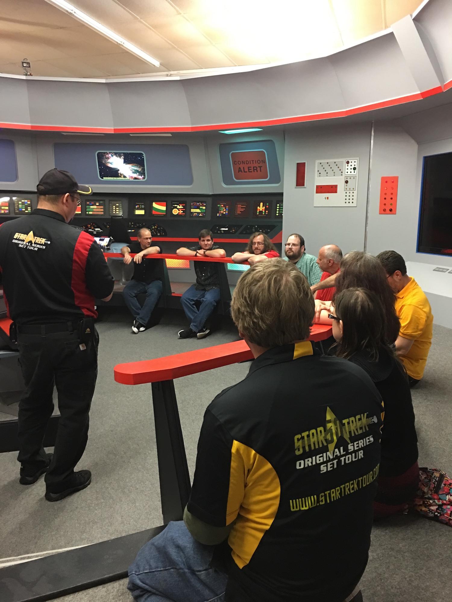 Group Interview with the  Star Trek  Writers; Clockwise, on the Bridge Railing: Scott Pearson, Dayton Ward, Keith R. A. DeCandido, Dave Galanter, Michael Jan Friedman, and Bob Greenberger ©2017 Karen Ragan-George