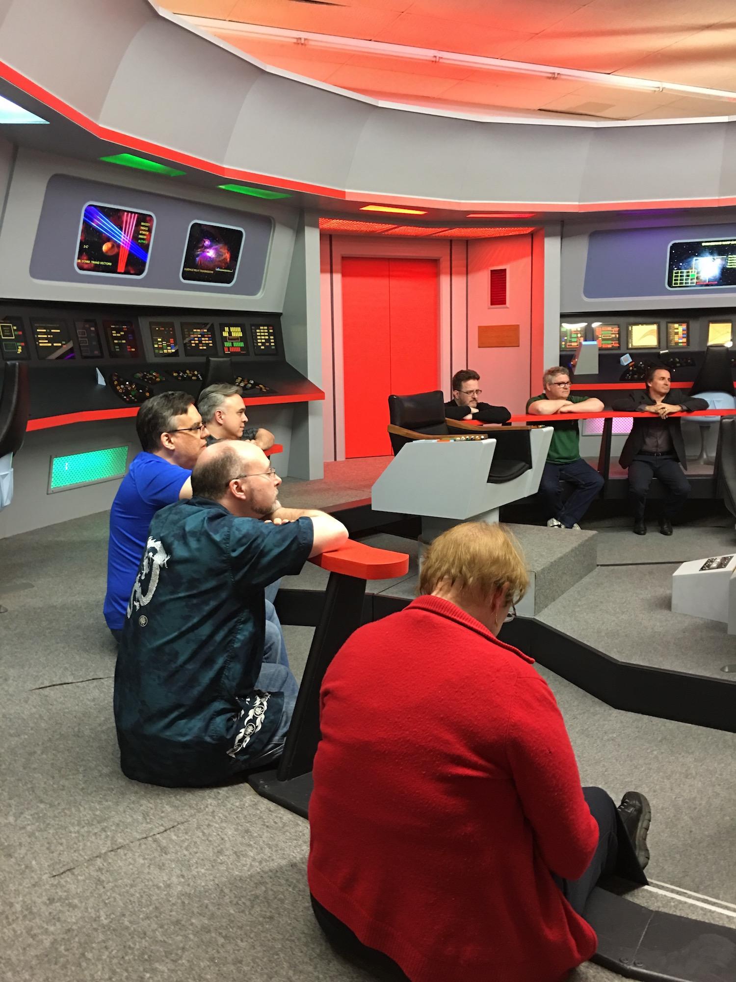 Group Interview with the  Star Trek  Writers; Clockwise, on the Bridge Railing: Aaron Rosenberg, Bill Leisner, David Mack,Glenn Hauman, Kevin Dilmore, and DRG III ©2017 Karen Ragan-George