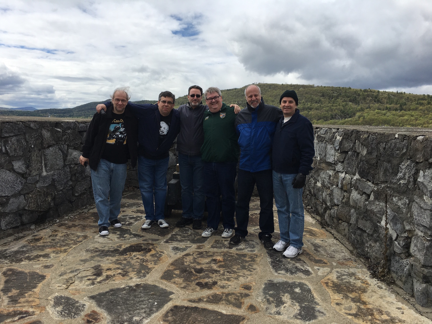 Writers on the Fort, From Left to Right: Scott Pearson, Bill Leisner, Bob Greenberger, Kevin Dilmore, Michael Jan Friedman, and DRG III ©2017 Karen Ragan-George