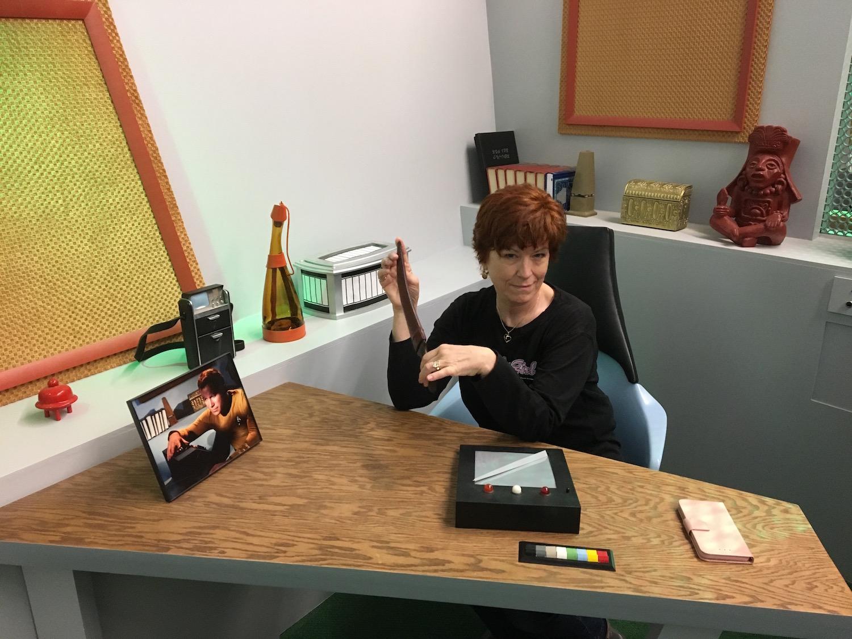 Karen Ragan-George Plotting at Captain Kirk's Desk ©2017 David R. George III