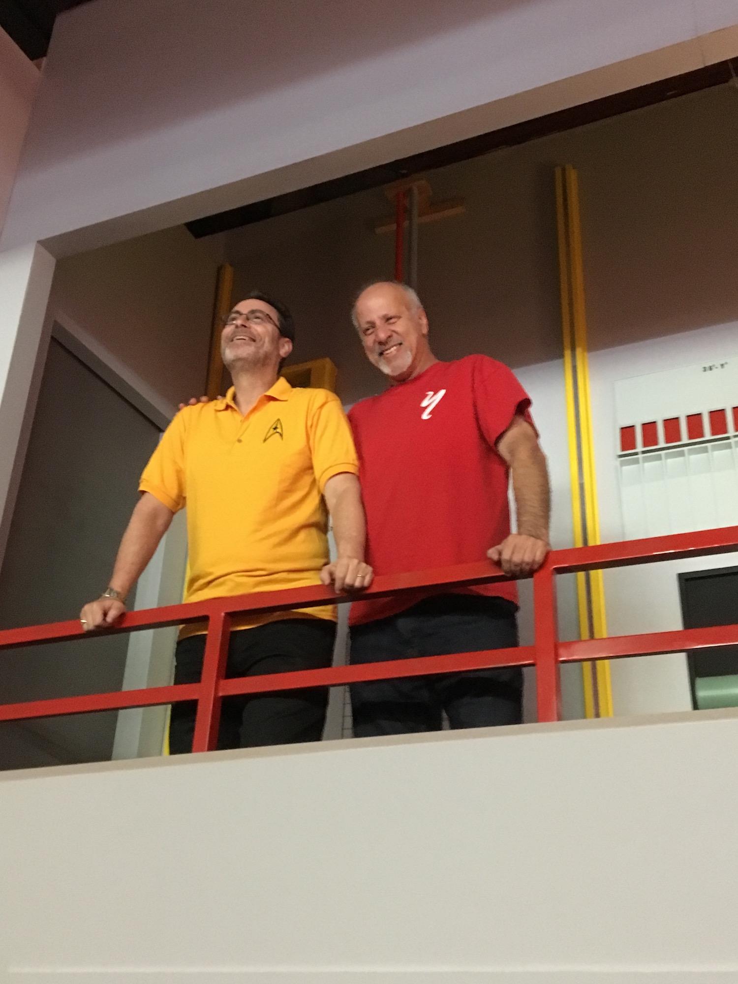 Bob Greenberger (Left)and Michael Jan Friedman on Engineering's Second Level ©2017 David R. George III