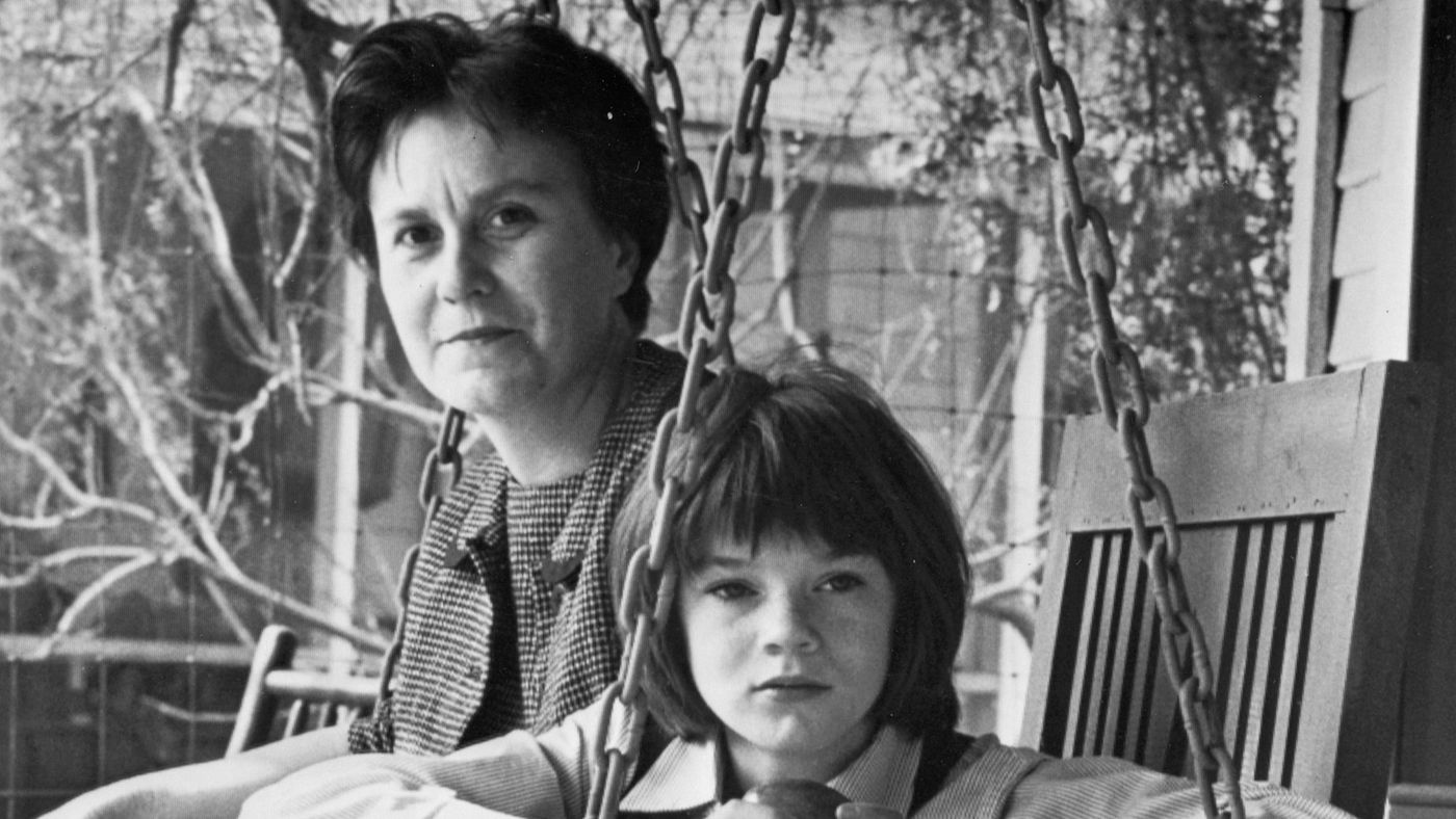 Novelist Harper Lee with Mary Badham on the set of  To Kill a Mockingbird