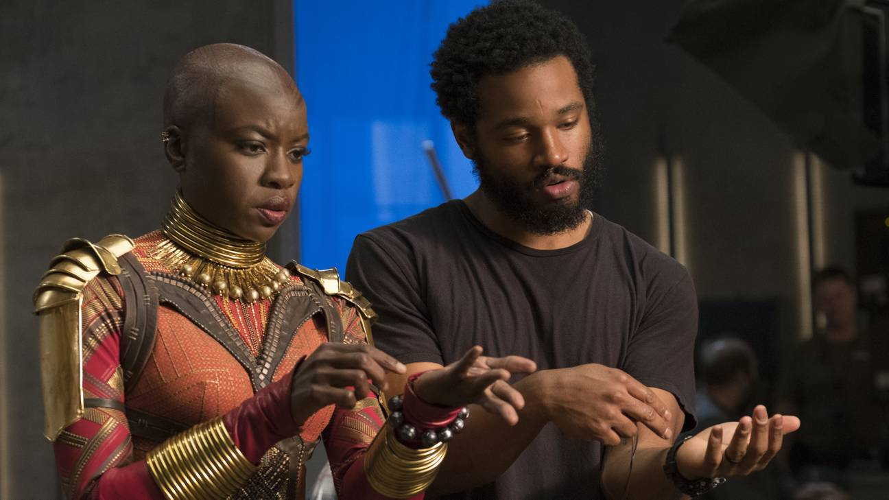 Actress  Danai Gurira  on the set of  Black Panther  with writer-director Ryan Coogler