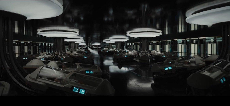 Hibernation pods aboard the starship  Avalon  in  Passengers