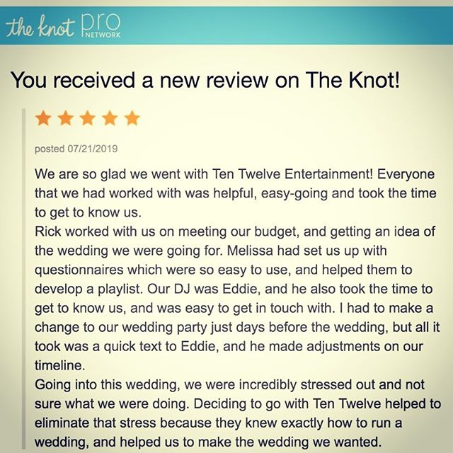 Ahhh love it when we get some killer reviews on @theknot ! Congrats to Melanie & Colin on their #bestdayever ! (And can we give it up to our DJ, Mr #EddieGobbo for bringing it hard?!?) #teamwork #theknot #weddingdj