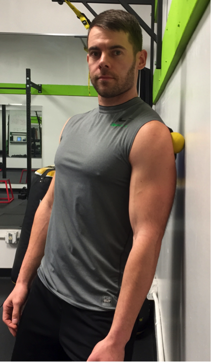 Place the ball on the front, middle, or back part of the deltoid an