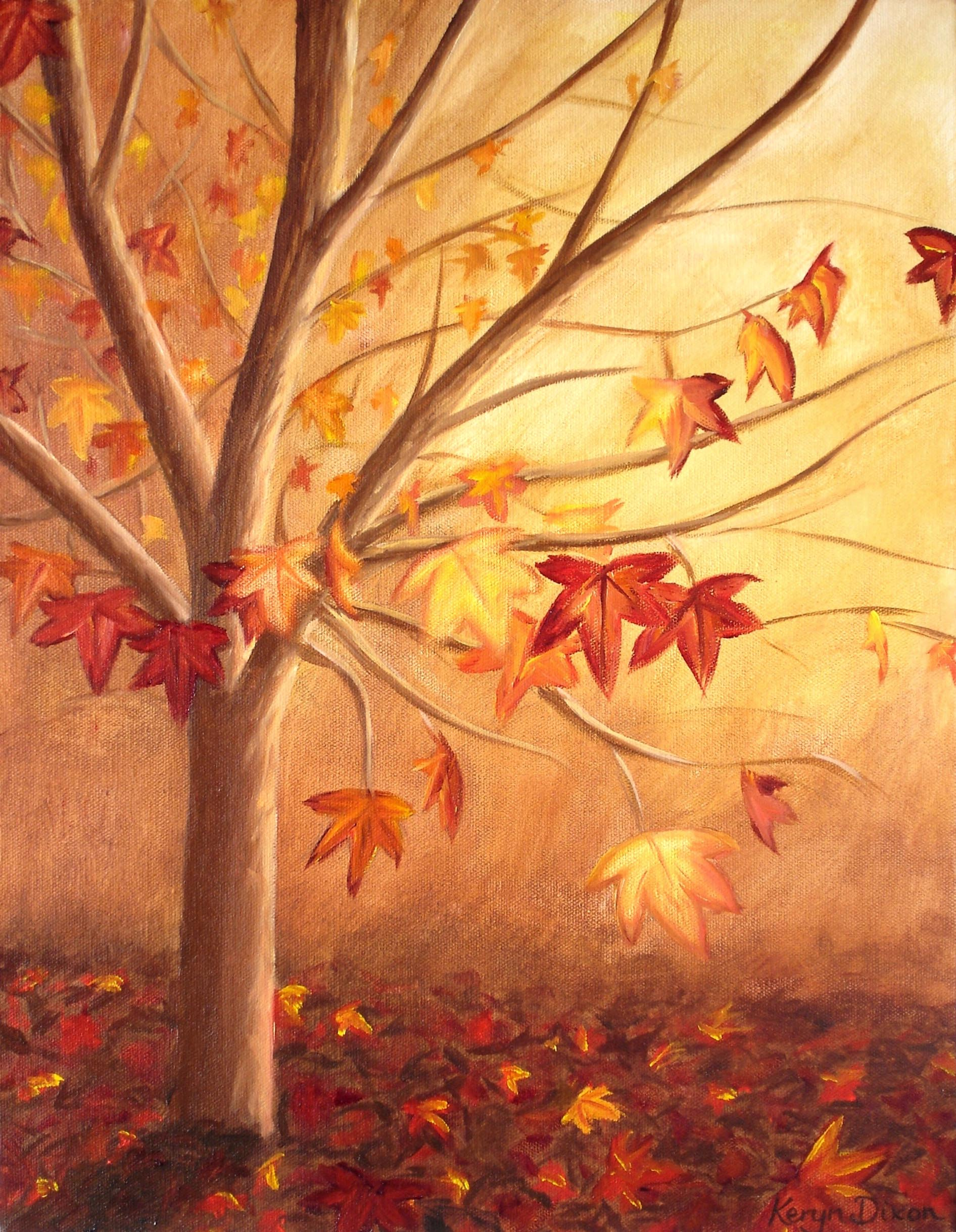 Autumn Tree  Oils on stretched canvas