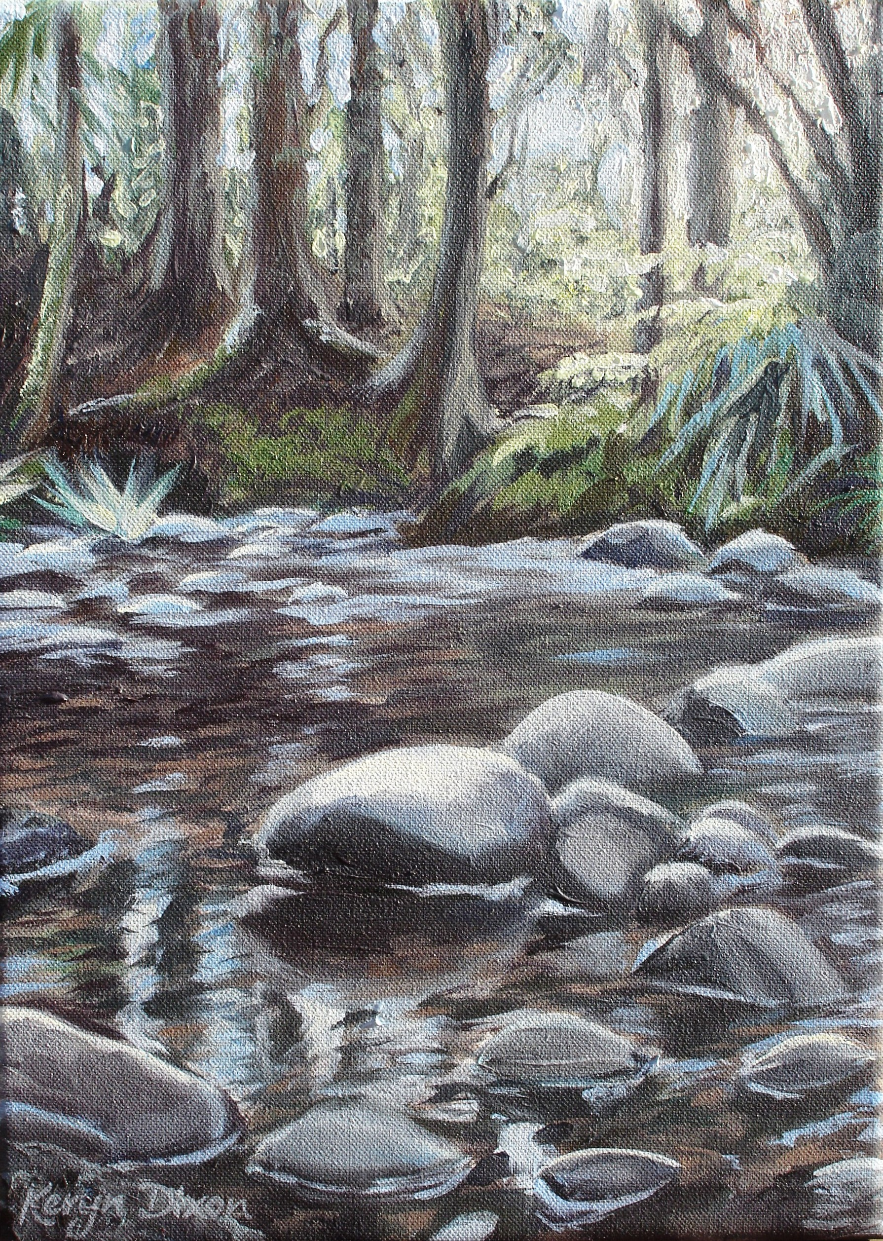 Bush and Stream  Oils on stretched canvas