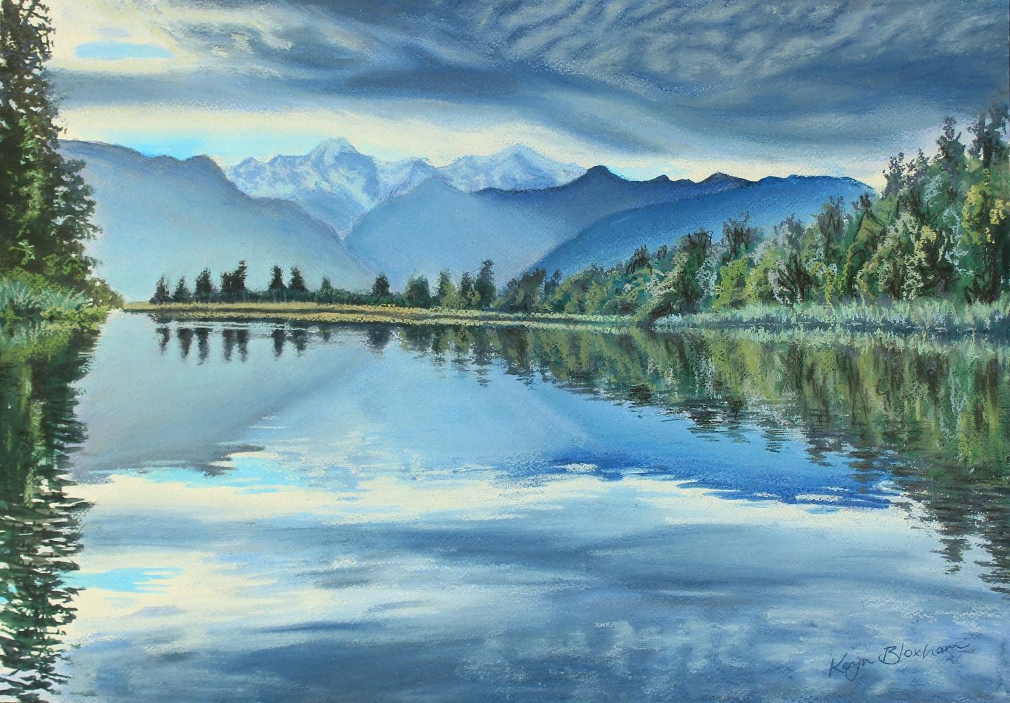 Lake Matheson. Watercolour and Pastel. $600