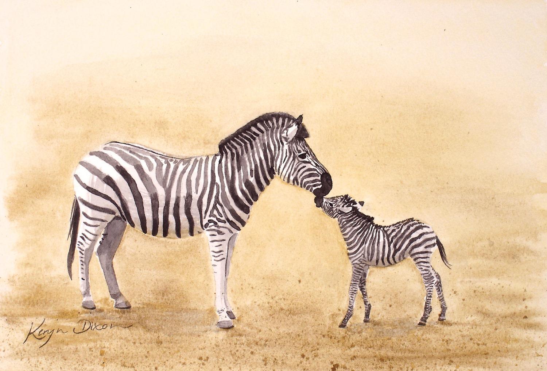 Zebra mum and Foal Watercolour
