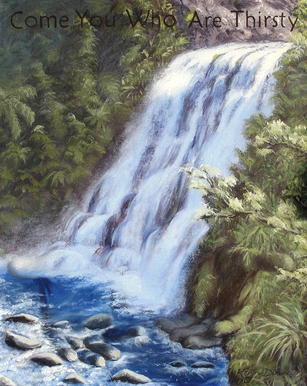 Otaki Waterfall Oil on canvas. Original sold, prints available