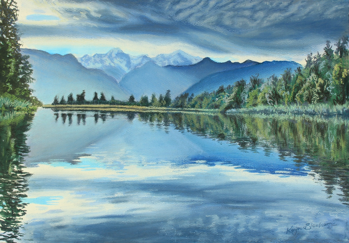 Lake Matheson  Pastel and Watercolour  Approx A3  Framed