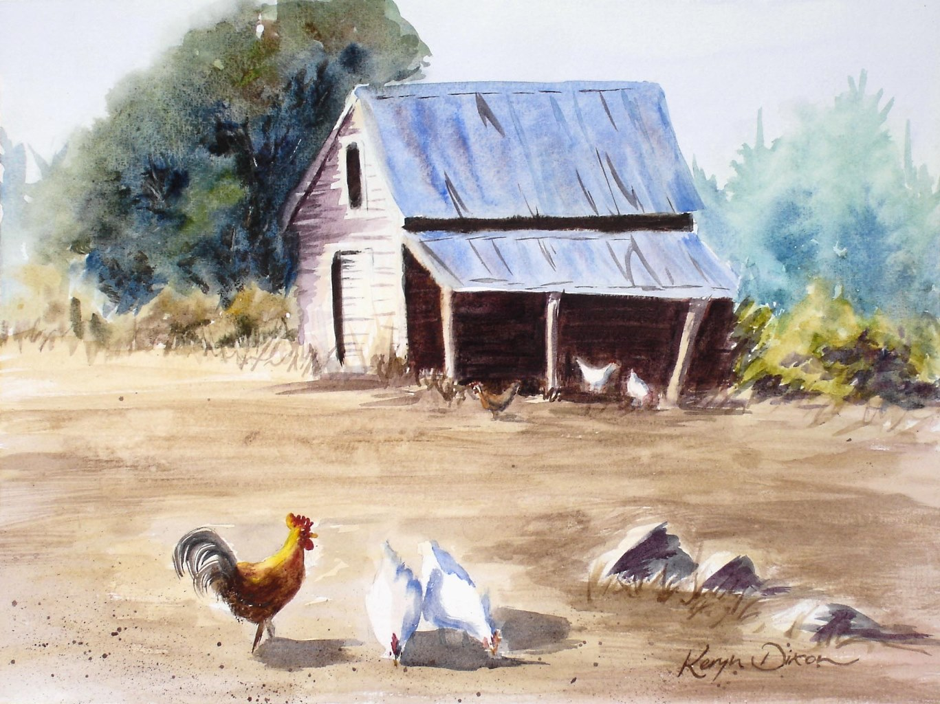 Chooks and Barn Watercolour. Original sold, prints available