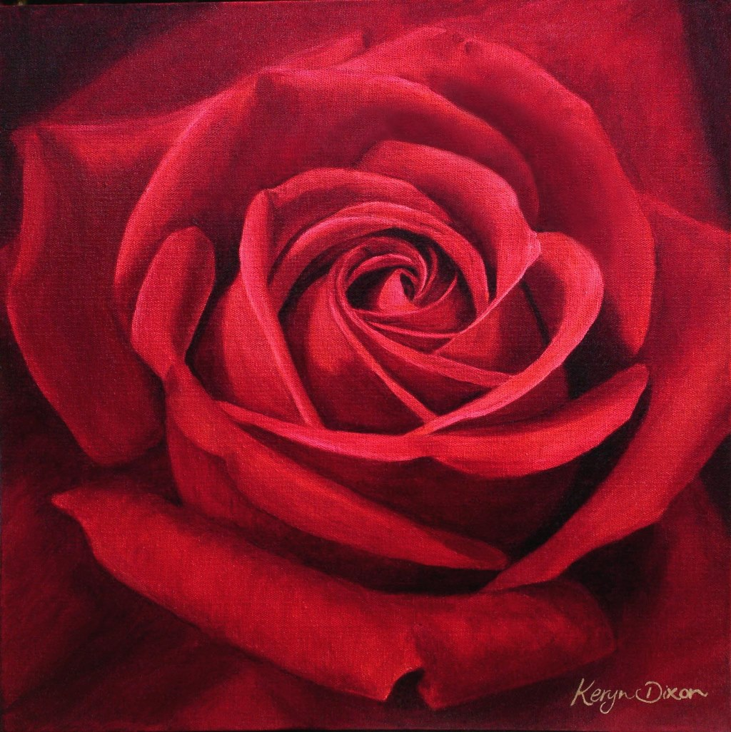 Red Rose. Oil on canvas. Original sold, prints available