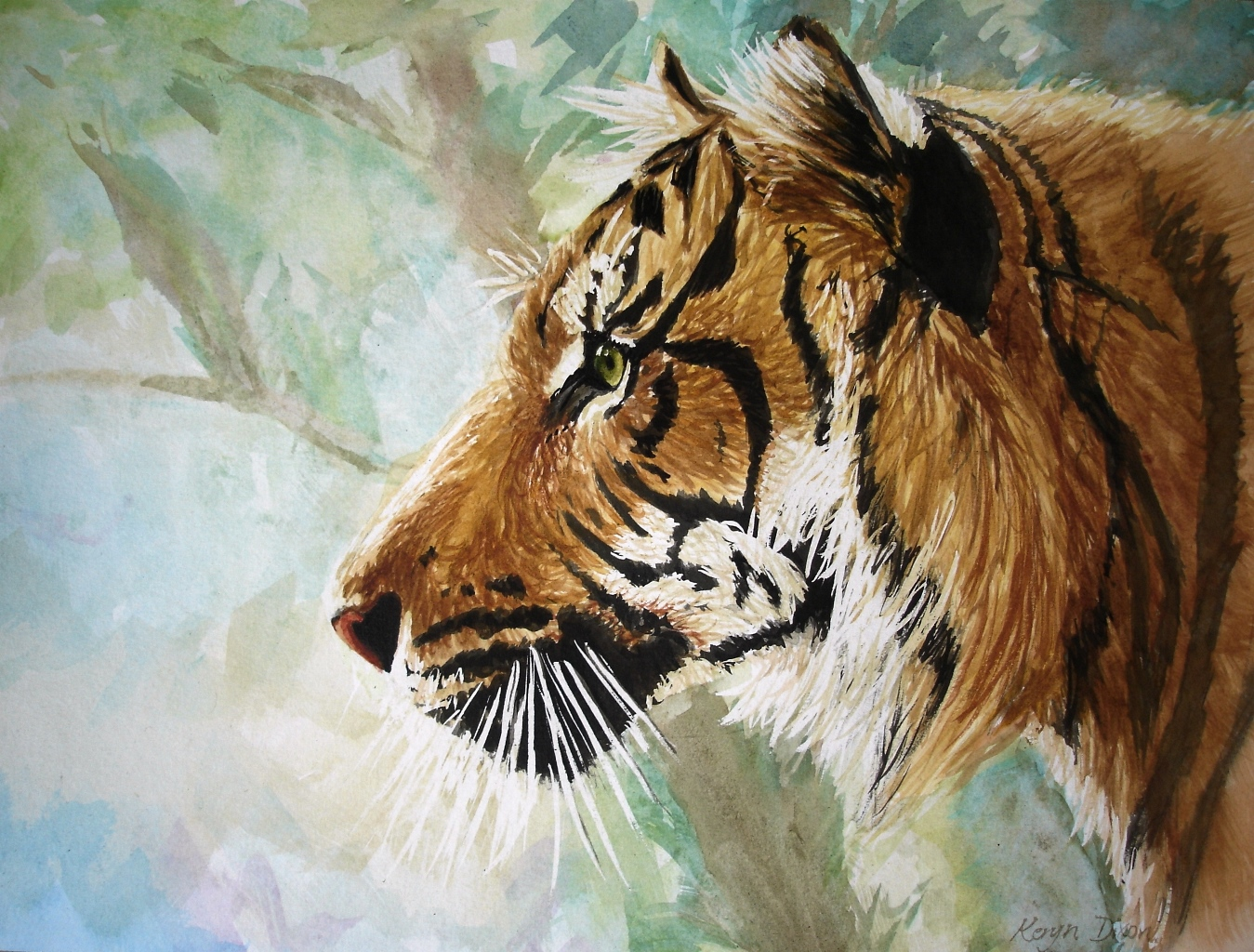 Tiger profile Watercolour. Original sold, prints available