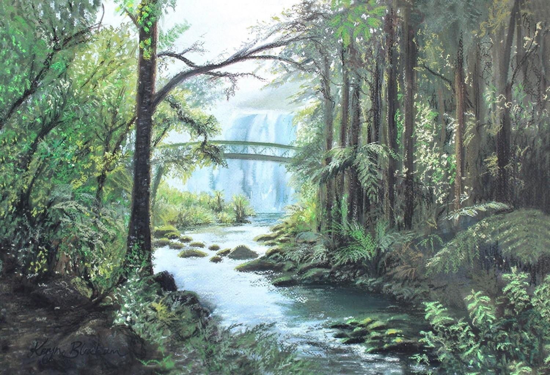 Whangarei Waterfall. Watercolour and Pastel. $600