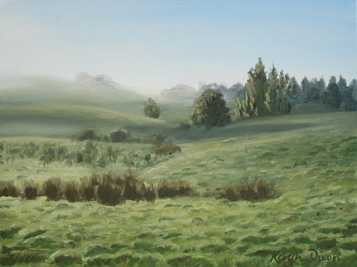 Misty Fields- Oil on Canvas. Original sold, prints available