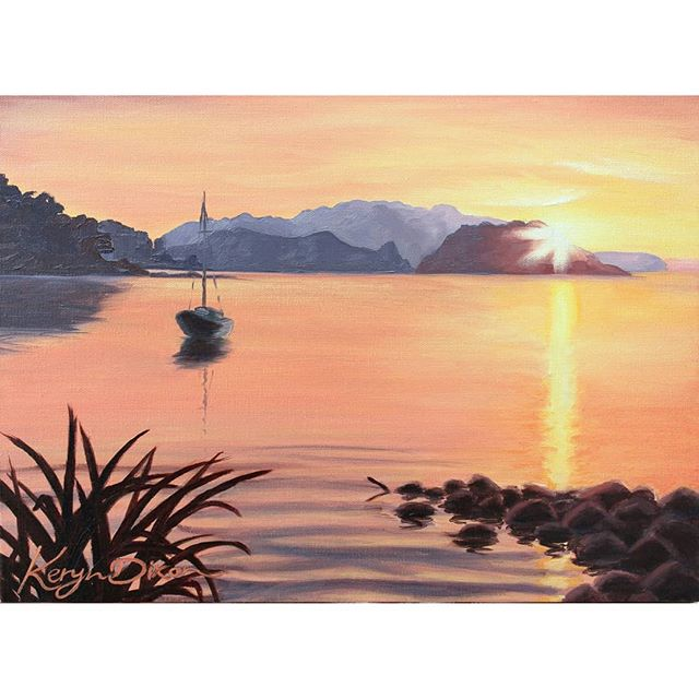 Karaka Bay sunset on Great Barrier Island. Painted in oils on stretched canvas. Love this location, and watching the sunsets each evening... every one different.  The original of this painting is still available ☺