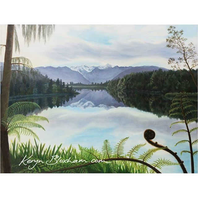 One of my more recent paintings... It was rather tricky as I didn't get the reflections right the first time, so it waited for a year and a half before I decided to take it away on holiday for a week and finish it!  It's of one of my favourite places in New Zealand, Lake Matheson near Fox Glacier.  Probably my biggest painting yet!  If you want a small print of it, it is in this year's calendar! Check out my latest posts to see the calendars ☺ Have you ever got stuck on a project and left it for ages before coming back to finish it?