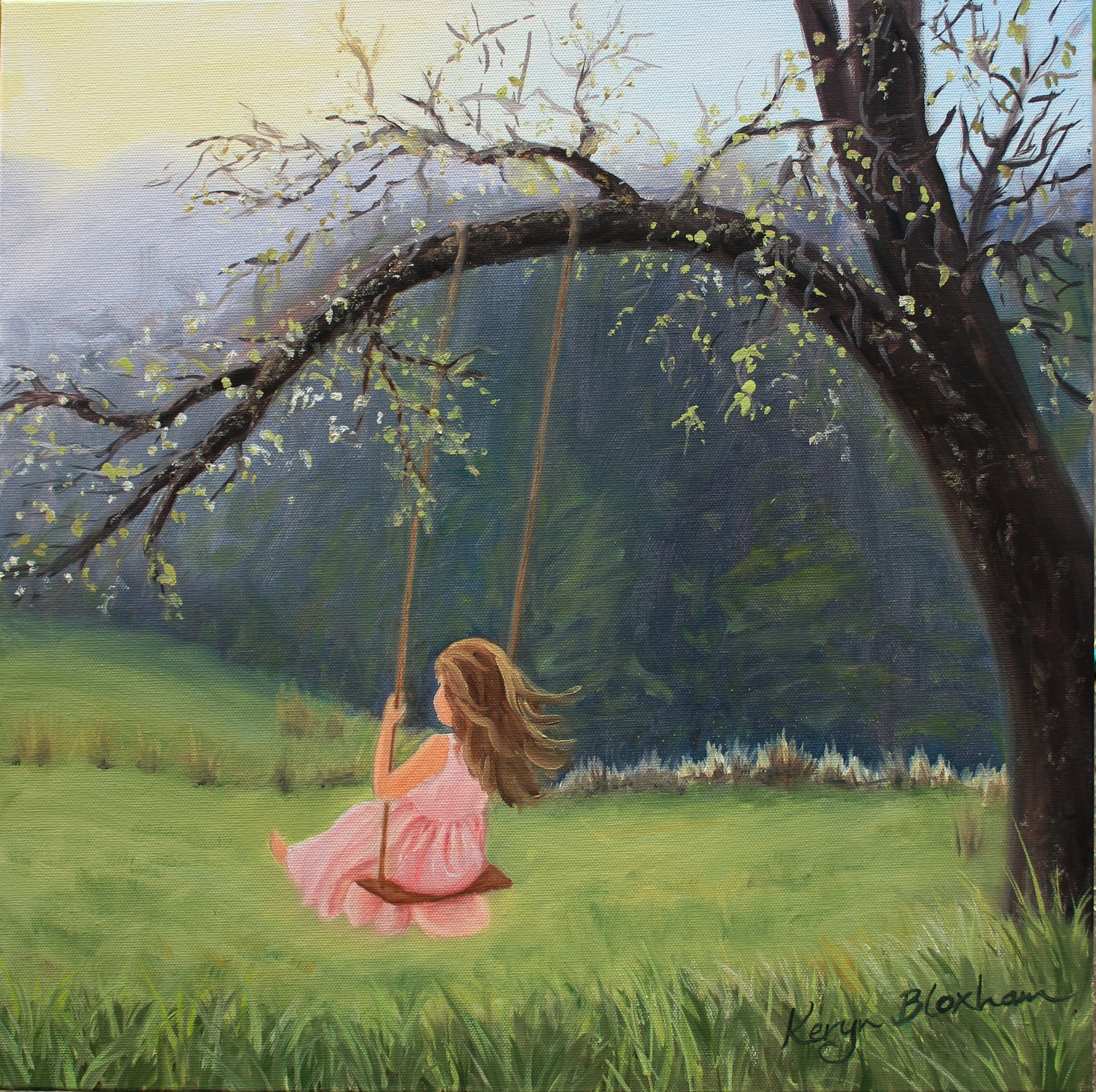 Girl on swing.  Oil on Canvas. Original $600, prints available