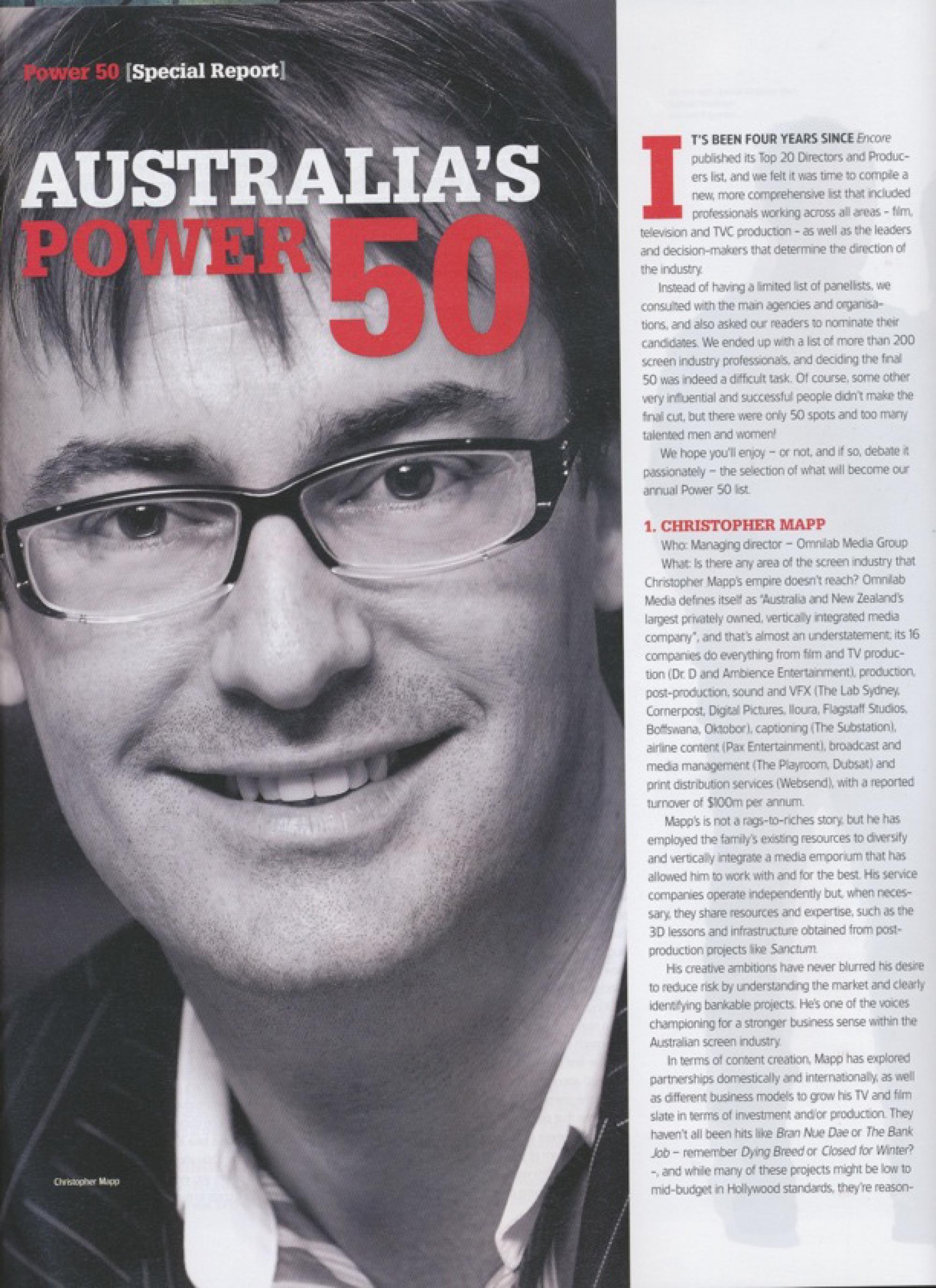 Australia's Power 50 – Encore Magazine