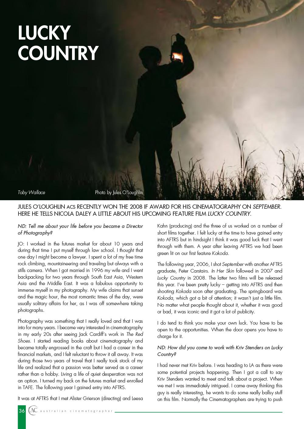 Lucky Country aka Dark Frontier – Australian Cinematographer