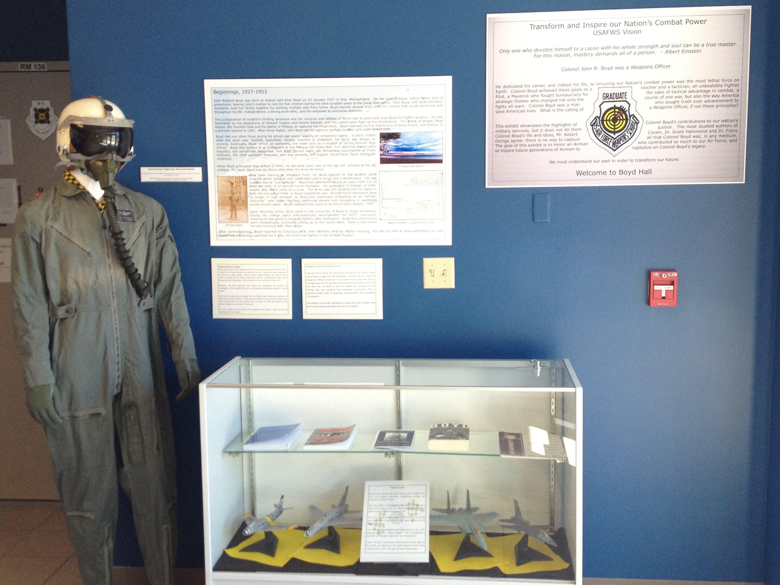John Boyd's flight suit and helmet at Boyd Hall