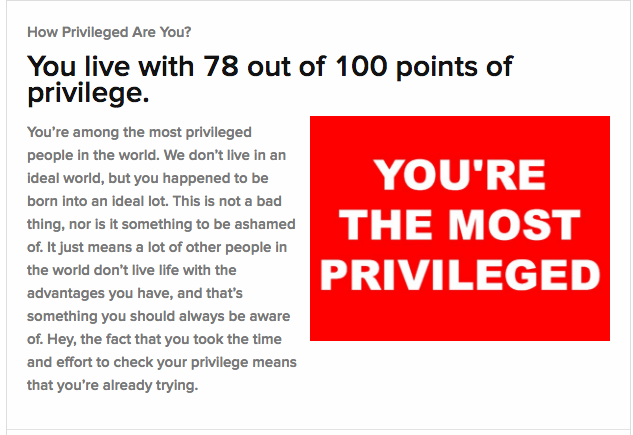 You're the most privileged