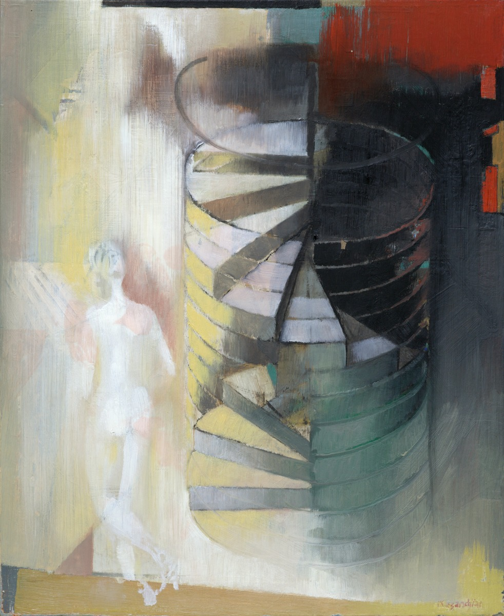 WOMAN AND WINDING STAIRCASE