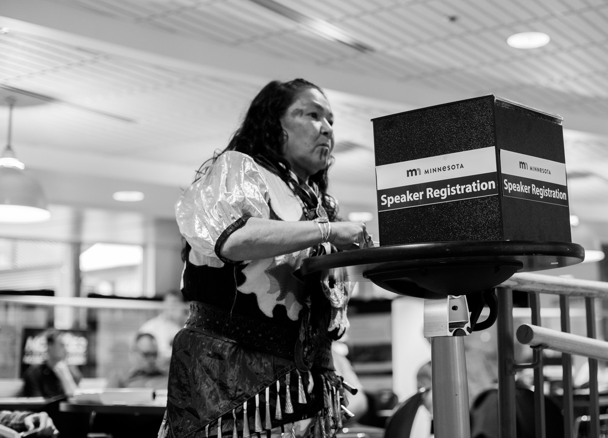 June 13 2017, Tania Aubid of the Mille Lacs Band signs up to comment at the Fond du Lac DEIS hearing. Photo by Jaida Grey Eagle