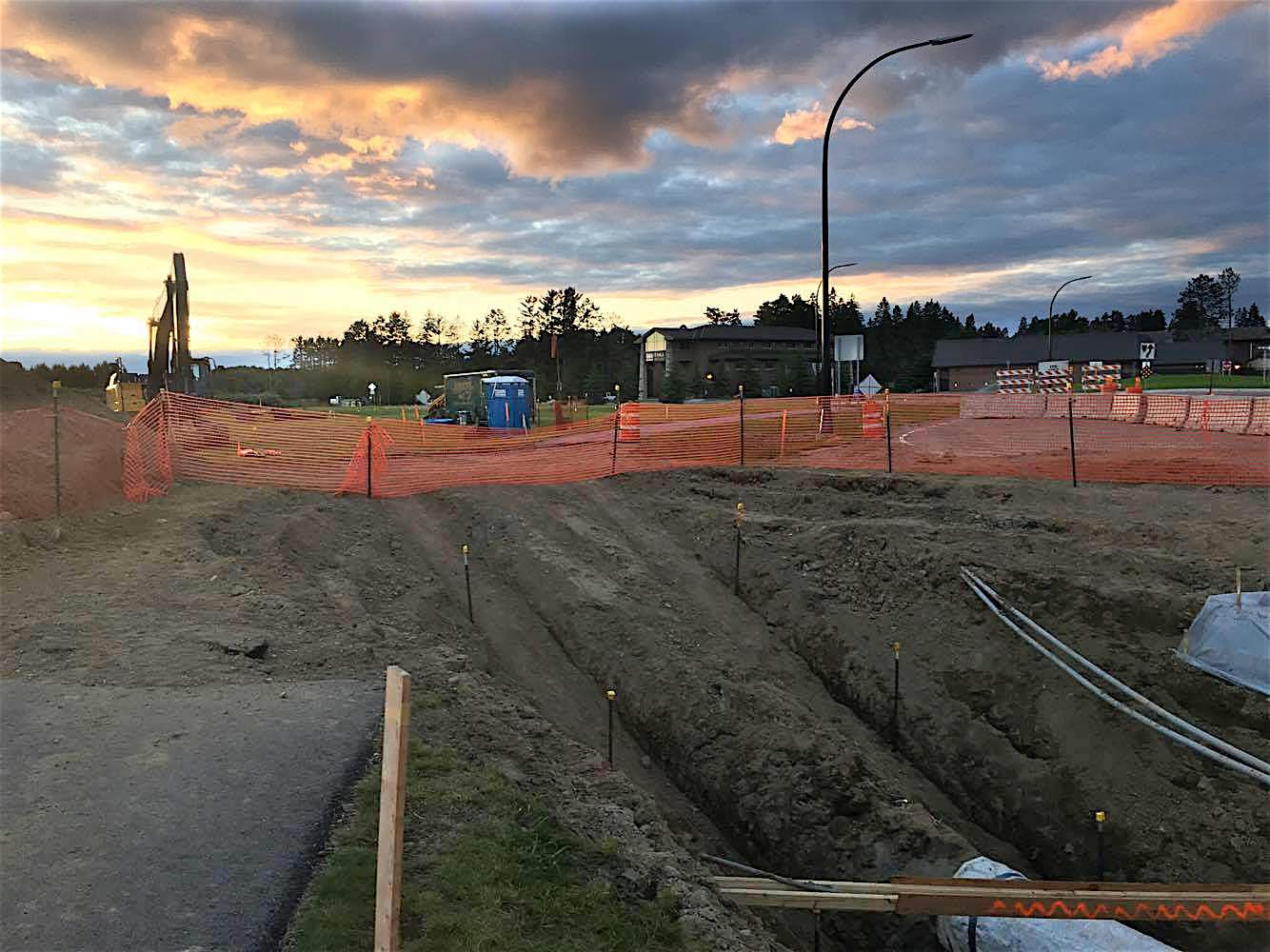 June 24, 2017: Workers on a site near the Itasca Community College identifies themselves as working for Acura, a contractor of Enbridge. They said they were working to put a 'sleeve' Line 3 because the pipe had a 'bend' in it.