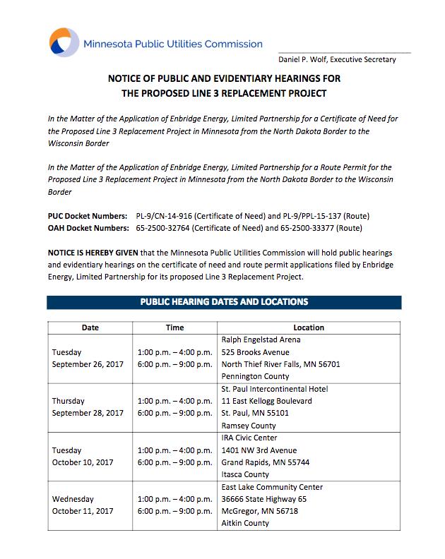 Line 3 hearing schedule
