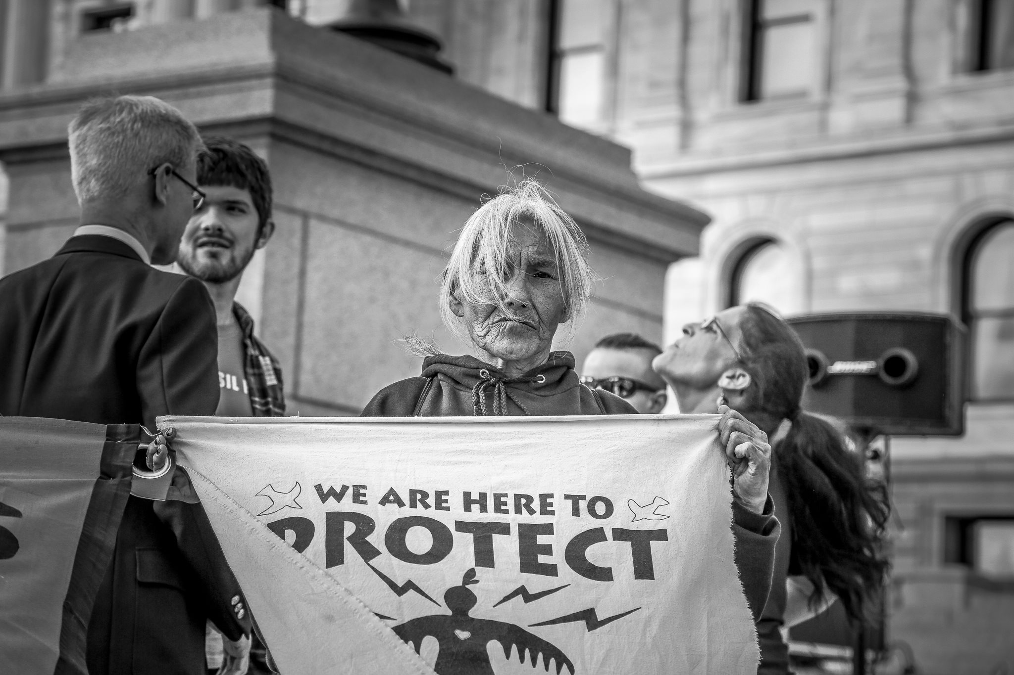 September 28, 2017 Opponents of proposed Line 3 gathered outside the Minnesota State Capitol. Photo by Rob Wilson