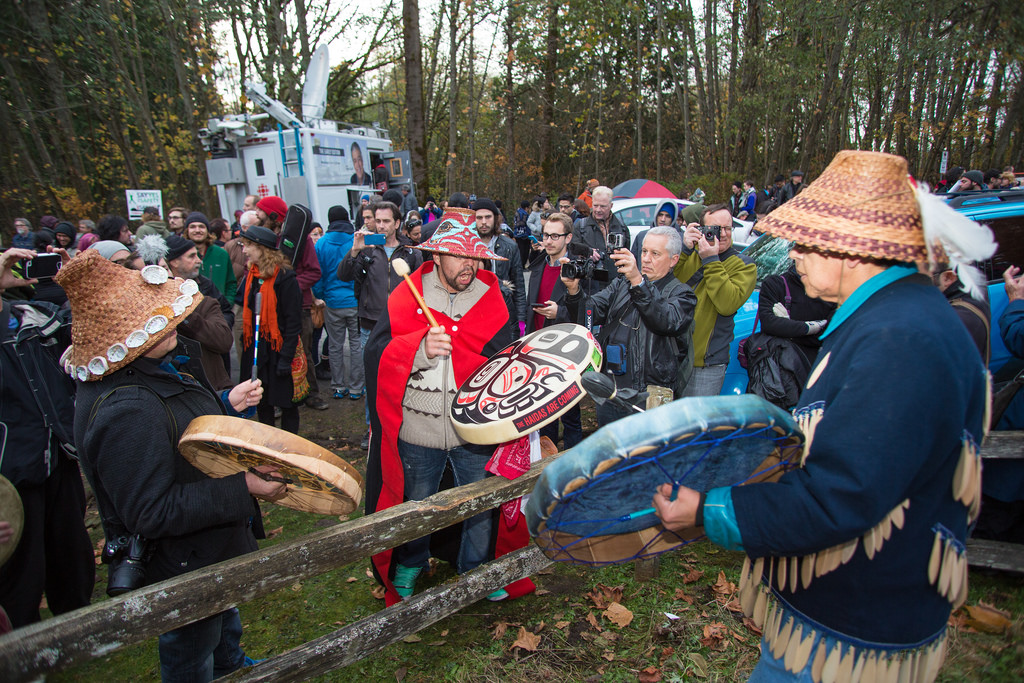 November 17th, 2014 Rally against the proposed Kinder Morgan oil pipeline on Burnaby Mountain. Photo by Mark Klotz