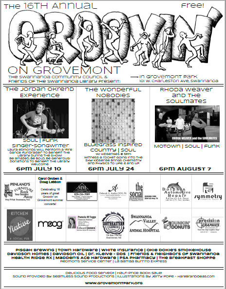 - The 16th annual Groovin' on Grovemontsummer concert series returns to Grovemont Square (adjacent to the Swannanoa Library) on July 10, July 24 and August 7, at 6:00 p.m.Bring a blanket or lawn chair and come enjoy these family-friendly evenings of great music, brought to you entirely by local sponsors and community volunteers! The concert series is free and open to the public.Concessions are themed to go with the musical genre for each night, and feature a wide variety of gourmet comfort foods (details below). All donations and proceeds from concessions benefit two nonprofit organizations, the Friends of the Swannanoa Library and the Swannanoa Community Council, and support the Swannanoa Library and Grovemont park and playground.7/10/2018 6:00pm:The Jordan Okrend ExperienceThe Jordan Okrend Experience is more than one thing. First, there is the signature sound, vintage pop imbued with an infectious funky jazz edge. There is also something else. Soulful music with socially conscious lyrics, that has all been but lost in today's current pop climate.he Asheville NC based singer/songwriter released his first two EP's, Unpredictable and Rising Up, between 2010 and 2012 while attending Berklee College of Music in Boston and has been performing extensively throughout the East Coast ever since. Has performed at notable venues such as Rockwood Music Hall, The Bitter End, Smiths Olde Bar, Gypsy Sally's and The Grey Eagle. His 2015 EP World Keeps Turnin was a clear indication that Okrend had thrown his hat into the ring of other soul revival upstarts such as Allen Stone and Michael Kiwanuka. The EP blended the old school with the contemporary while echoing the conscious elements of his musical heroes-Lennon, Hendrix and Marley. krend's latest album, Dance By The Riverside (2017) is a buoyant meditation of the stresses of the modern world, with a distinctively funk and retro soul vibe. IndieMinded says