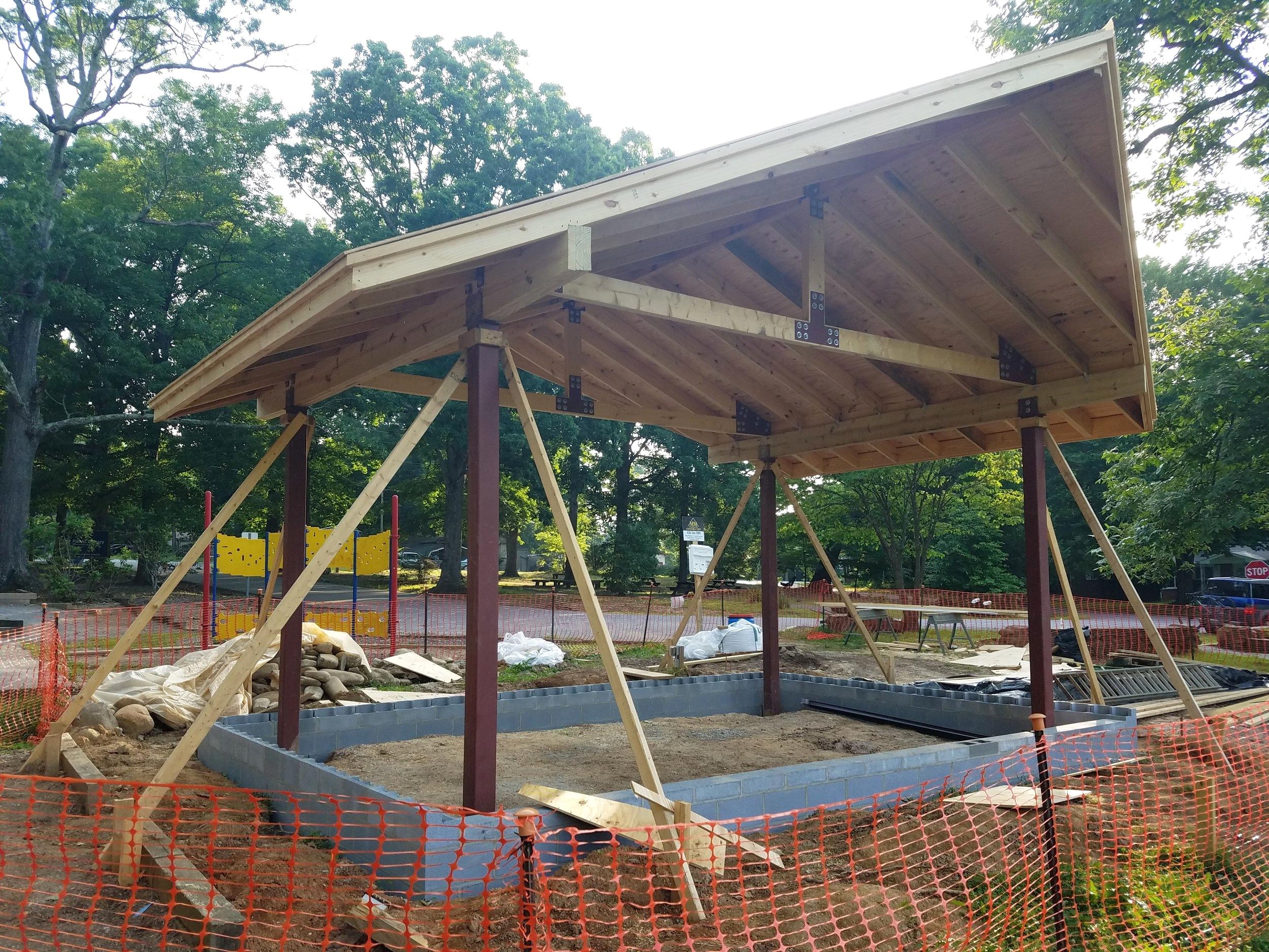 Grovemont Park Performance Pavilion nears completion.