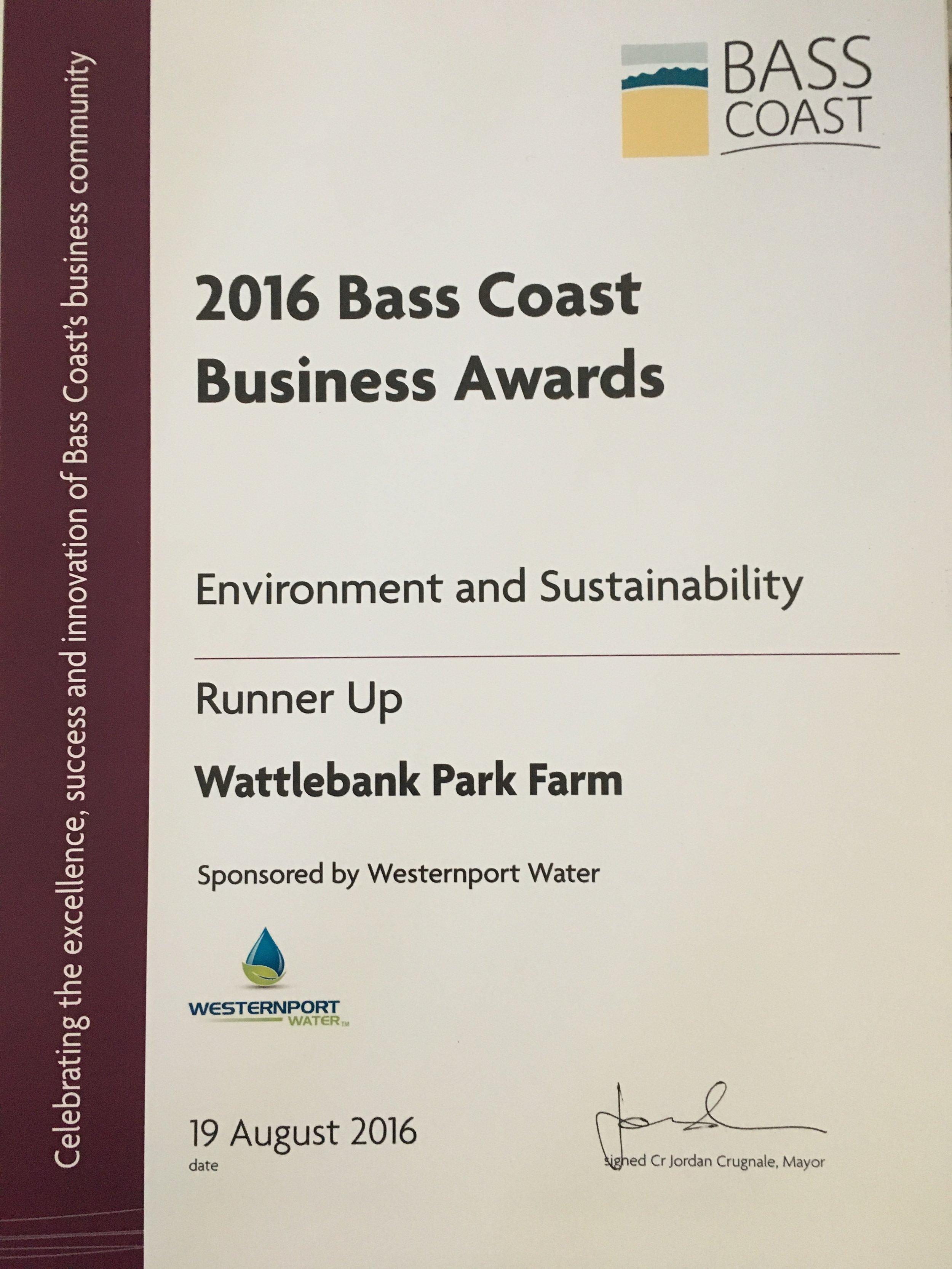 Bass Coast Business awards runner up 2016