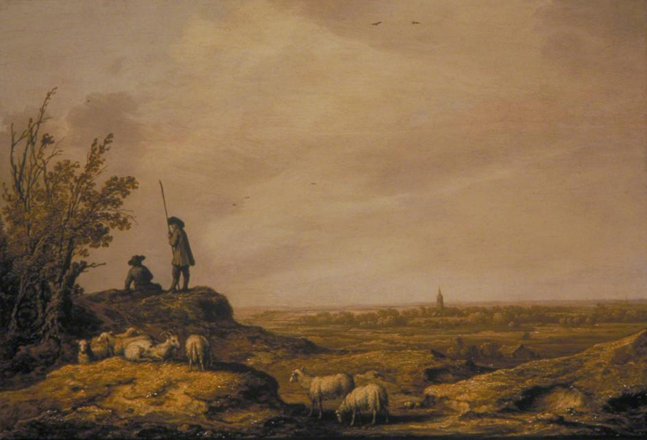 Panoramic Landscape with Shepherds, Sheep and a Town in the Distance,  Aelbert Jacobz Cuyp, 1644