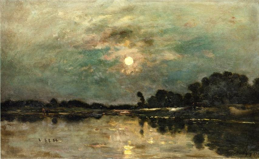 Riverbank In Moonlight, Charles-Francois Daubigny, 1875