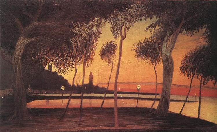 Sunset Over the Bay of Naples, 1901, Tivadar Kosztka Csontvary