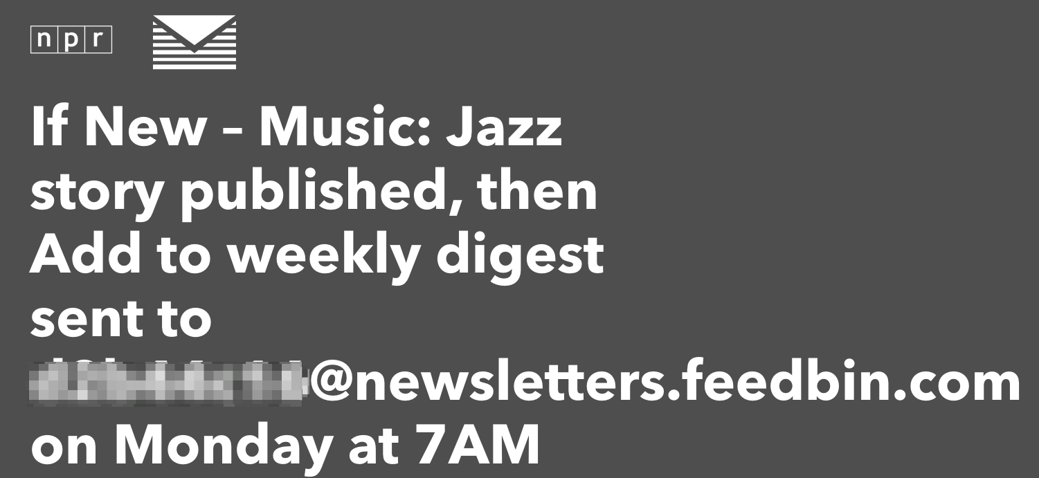 An example weekly news digest I get for NPR Jazz