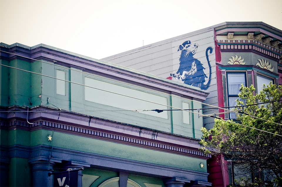 """Greif originally obtained the """"Haight Street Rat"""" in 2010 from a wall in San Fransisco. In April 2010, five Banksy pieces appeared on different buildings throughout the city."""