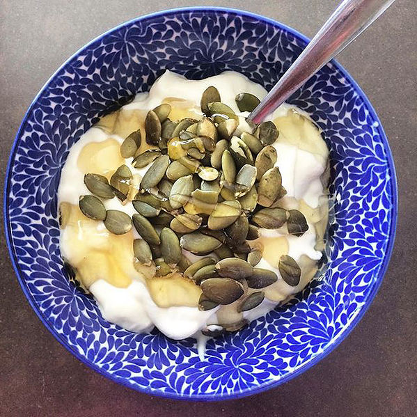 The popular teacup and teaspoon trick (but with yoghurt instead)Via  The Nude Nutritionist Instagram