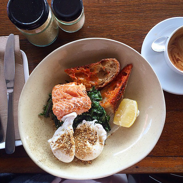 Pictured: Smoked trout with poached eggs, za'atar and sauted greens
