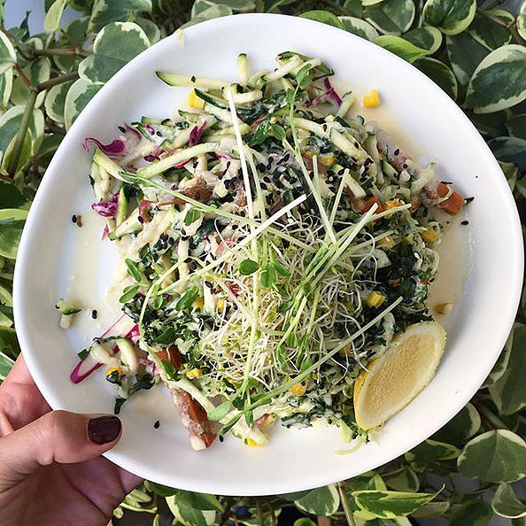 Pictured: Zucchini salad of the day with miso tahini dressing
