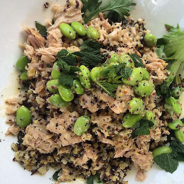 Pictured: Quinoa, Tuna and Edamame salad