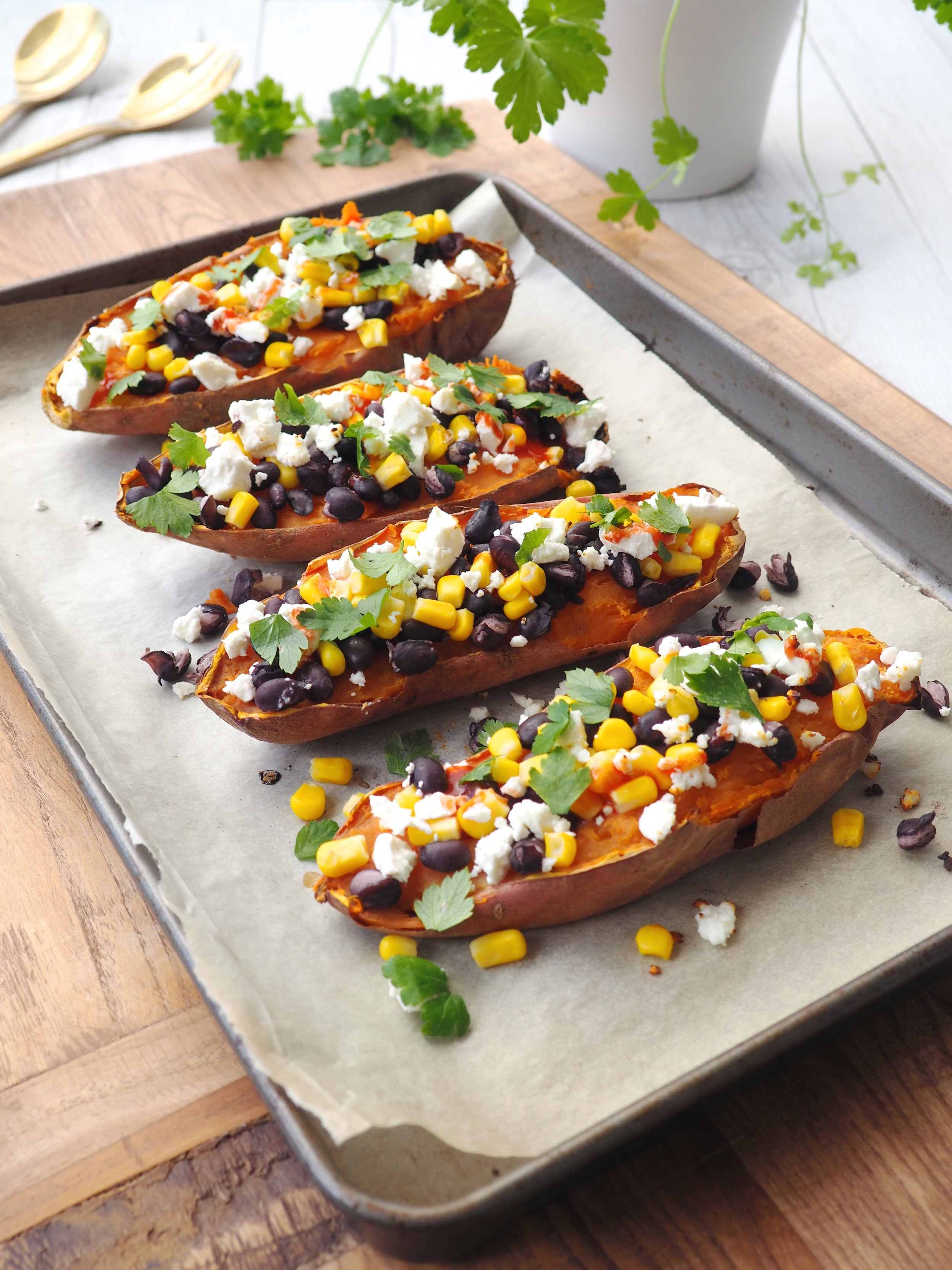 Mexican Sweet Potato Boats with feta