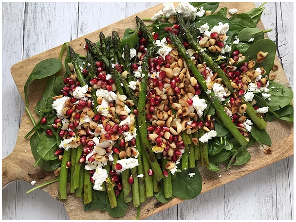 Try this delicious   Grilled Asparagus & Pomegranate Salad