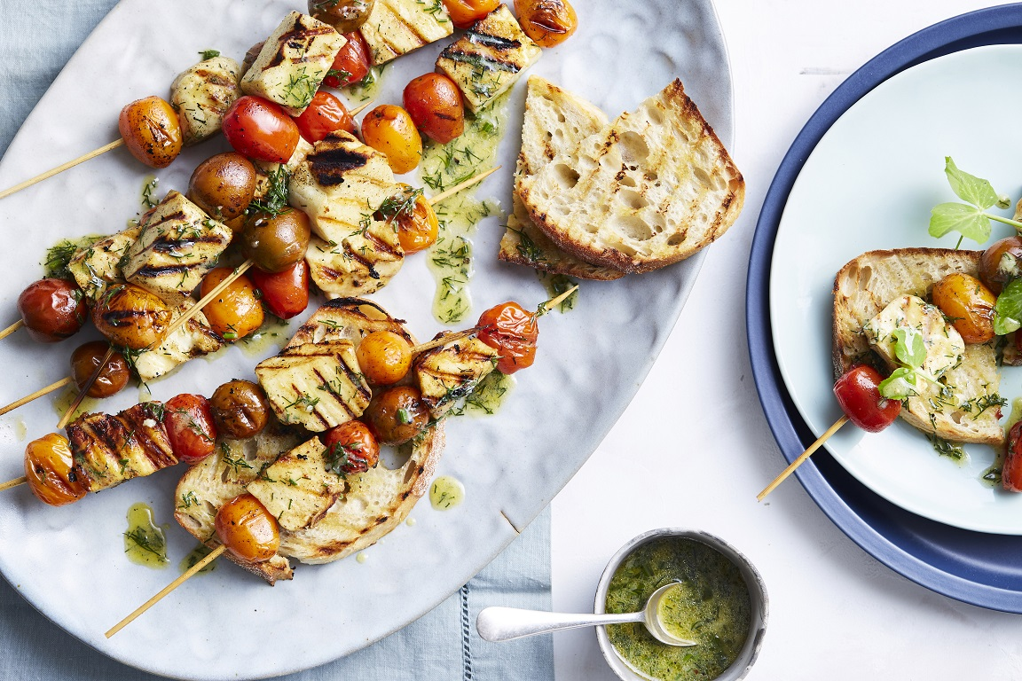 Tomato Medley & Barbecued Haloumi Skewers